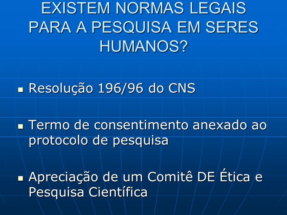 EXISTEM NORMAS LEGAIS PARA A PESQUISA EM SERES HUMANOS.