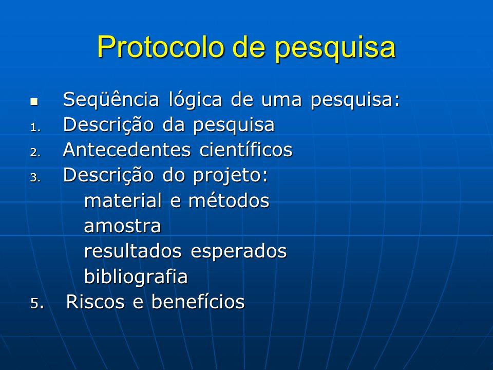 Protocolo de pesquisa Seqüência lógica de uma pesquisa: Seqüência lógica de uma pesquisa: 1.