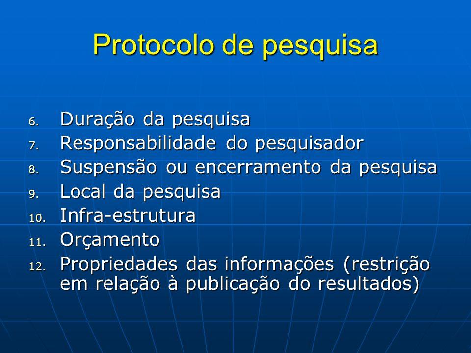 Protocolo de pesquisa 6.Duração da pesquisa 7. Responsabilidade do pesquisador 8.