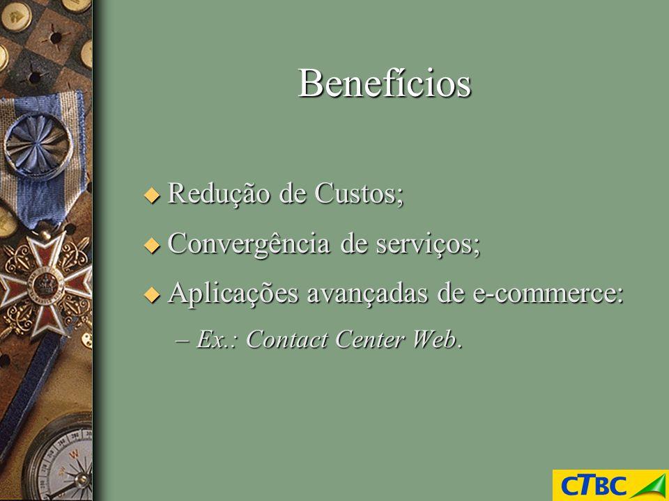 Benefícios u Redução de Custos; u Convergência de serviços; u Aplicações avançadas de e-commerce: –Ex.: Contact Center Web.