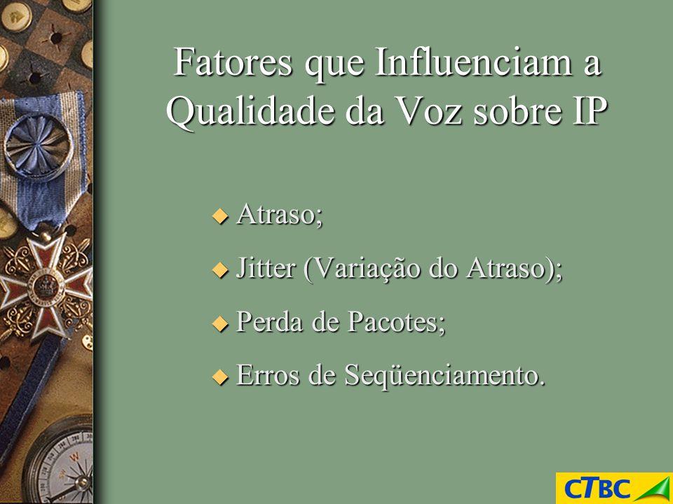 Fatores que Influenciam a Qualidade da Voz sobre IP u Atraso; u Jitter (Variação do Atraso); u Perda de Pacotes; u Erros de Seqüenciamento.