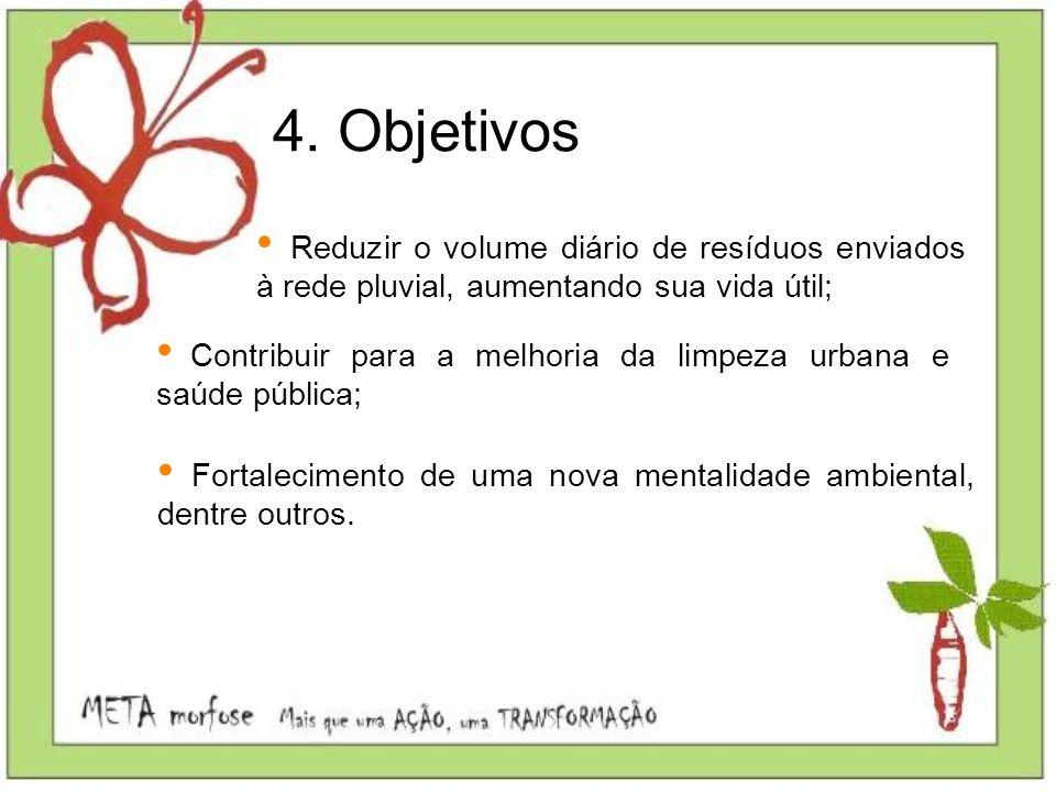 4. Objetivos Reduzir o volume diário de resíduos enviados à rede pluvial, aumentando sua vida útil; Contribuir para a melhoria da limpeza urbana e saú