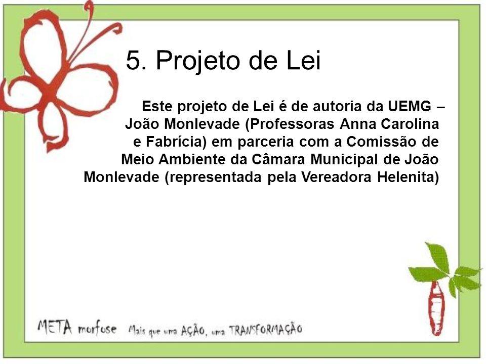 Este projeto de Lei é de autoria da UEMG – João Monlevade (Professoras Anna Carolina e Fabrícia) em parceria com a Comissão de Meio Ambiente da Câmara
