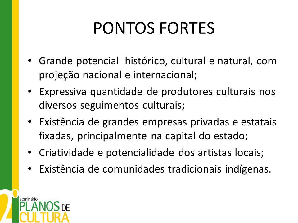 PONTOS FORTES Grande potencial histórico, cultural e natural, com projeção nacional e internacional; Expressiva quantidade de produtores culturais nos