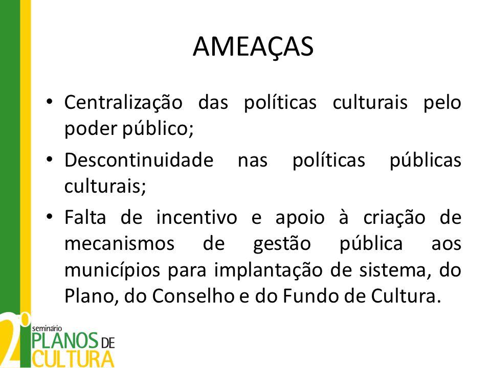 AMEAÇAS Centralização das políticas culturais pelo poder público; Descontinuidade nas políticas públicas culturais; Falta de incentivo e apoio à criaç