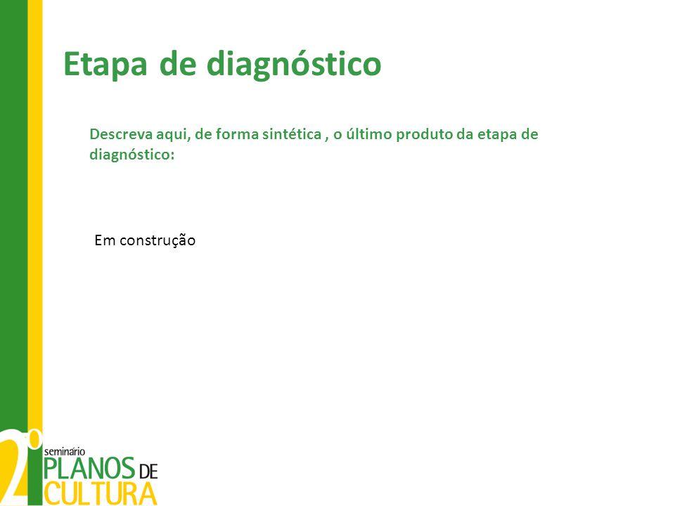 Em construção Descreva aqui, de forma sintética, o último produto da etapa de diagnóstico: Etapa de diagnóstico