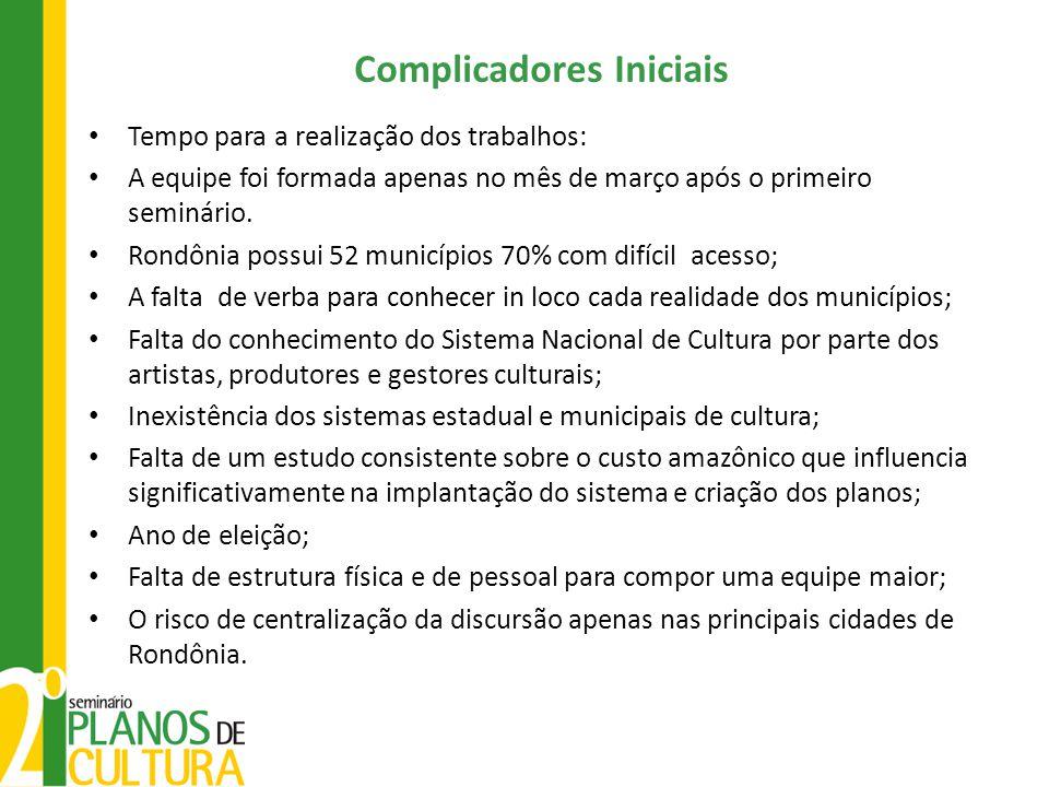 Complicadores Iniciais Tempo para a realização dos trabalhos: A equipe foi formada apenas no mês de março após o primeiro seminário. Rondônia possui 5
