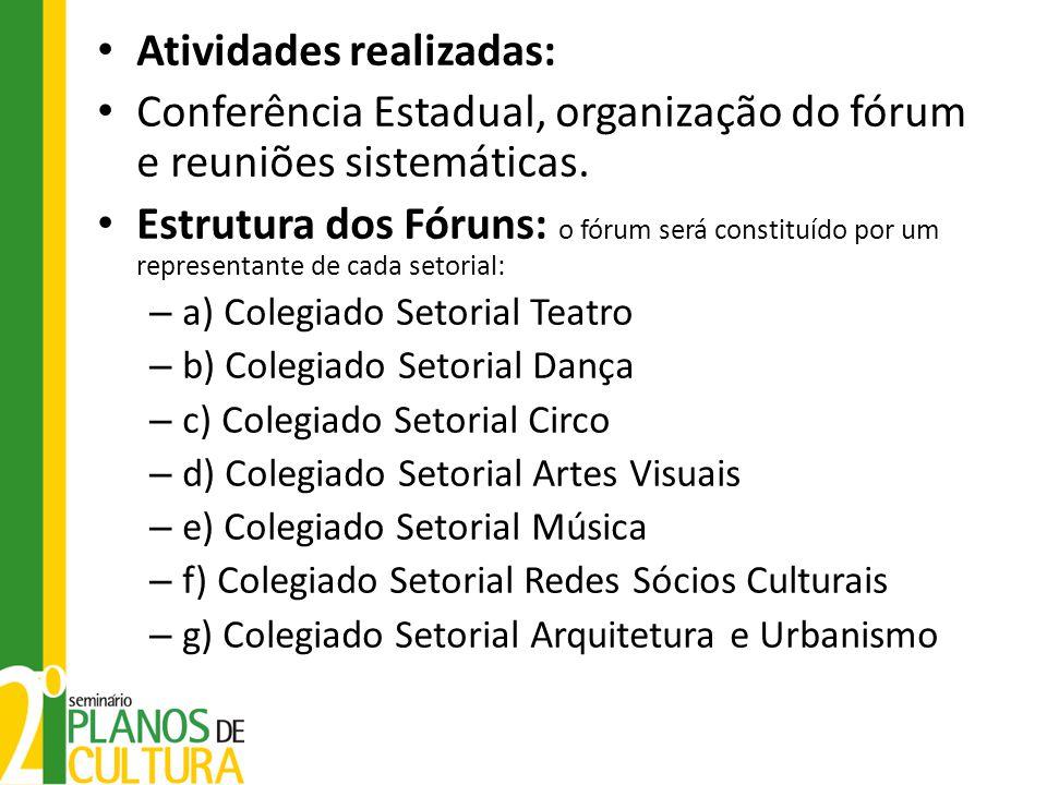Atividades realizadas: Conferência Estadual, organização do fórum e reuniões sistemáticas. Estrutura dos Fóruns: o fórum será constituído por um repre
