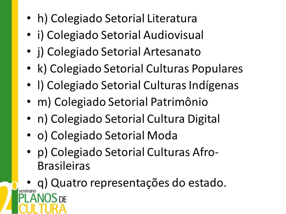 h) Colegiado Setorial Literatura i) Colegiado Setorial Audiovisual j) Colegiado Setorial Artesanato k) Colegiado Setorial Culturas Populares l) Colegi