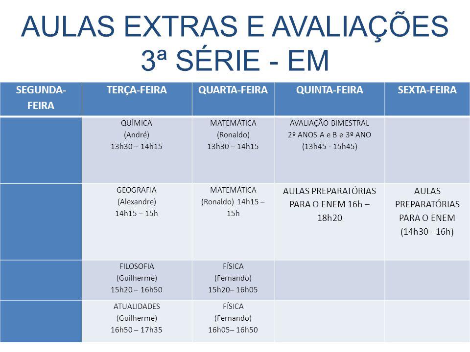 AULAS EXTRAS E AVALIAÇÕES 3ª SÉRIE - EM SEGUNDA- FEIRA TERÇA-FEIRAQUARTA-FEIRAQUINTA-FEIRASEXTA-FEIRA QUÍMICA (André) 13h30 – 14h15 MATEMÁTICA (Ronaldo) 13h30 – 14h15 AVALIAÇÃO BIMESTRAL 2º ANOS A e B e 3º ANO (13h45 - 15h45) GEOGRAFIA (Alexandre) 14h15 – 15h MATEMÁTICA (Ronaldo) 14h15 – 15h AULAS PREPARATÓRIAS PARA O ENEM 16h – 18h20 AULAS PREPARATÓRIAS PARA O ENEM (14h30– 16h) FILOSOFIA (Guilherme) 15h20 – 16h50 FÍSICA (Fernando) 15h20– 16h05 ATUALIDADES (Guilherme) 16h50 – 17h35 FÍSICA (Fernando) 16h05– 16h50