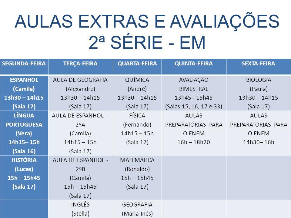 AULAS EXTRAS E AVALIAÇÕES 2ª SÉRIE - EM SEGUNDA-FEIRATERÇA-FEIRAQUARTA-FEIRAQUINTA-FEIRASEXTA-FEIRA ESPANHOL (Camila) 13h30 – 14h15 (Sala 17) AULA DE GEOGRAFIA (Alexandre) 13h30 – 14h15 (Sala 17) QUÍMICA (André) 13h30 – 14h15 (Sala 17) AVALIAÇÃO BIMESTRAL 13h45 - 15h45 (Salas 15, 16, 17 e 33) BIOLOGIA (Paula) 13h30 – 14h15 (Sala 17) LÍNGUA PORTUGUESA (Vera) 14h15– 15h (Sala 16) AULA DE ESPANHOL -- 2ºA (Camila) 14h15 – 15h (Sala 17) FÍSICA (Fernando) 14h15 – 15h (Sala 17) AULAS PREPARATÓRIAS PARA O ENEM 16h – 18h20 AULAS PREPARATÓRIAS PARA O ENEM 14h30– 16h HISTÓRIA (Lucas) 15h – 15h45 (Sala 17) AULA DE ESPANHOL - 2ºB (Camila) 15h – 15h45 (Sala 17) MATEMÁTICA (Ronaldo) 15h – 15h45 (Sala 17) INGLÊS (Stella) 15h50 – 16h35 (Sala 16) GEOGRAFIA (Maria Inês) 15h45 – 16h30 (Sala 16) AULA DE ATUALIDADES (Guilherme) 16h50 – 17h35 (Sala 15)