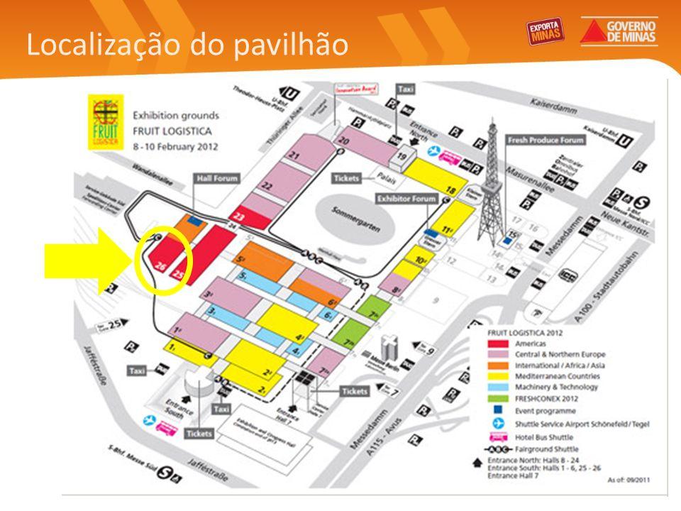 Feira: Fruit Logistica Data: 8 a 10 de fevereiro de 2012 (quarta a sexta) Local: Messe Berlin Horário de funcionamento: de 9h00 às 18h00 Avaliação