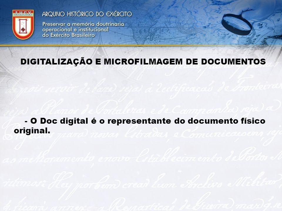 DIGITALIZAÇÃO E MICROFILMAGEM DE DOCUMENTOS - O Doc digital é o representante do documento físico original.