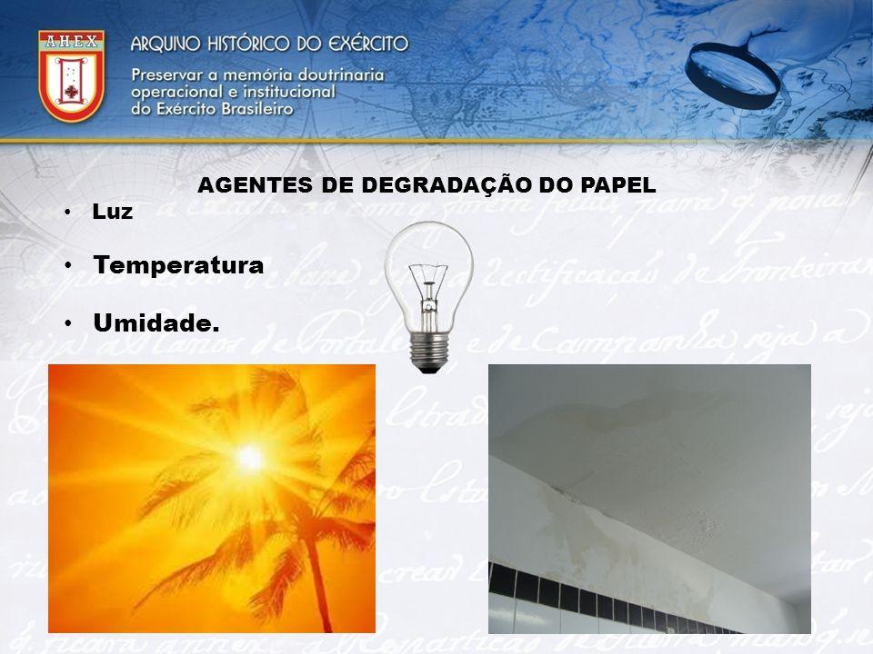 AGENTES DE DEGRADAÇÃO DO PAPEL Luz Temperatura Umidade.