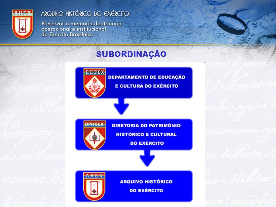 MISSÃO Conservar, restaurar e manter a memória institucional, operacional e dos integrantes do Exército Brasileiro e, receber e processar processar arquivisticamente os acervos das Organizações Militares extintas.