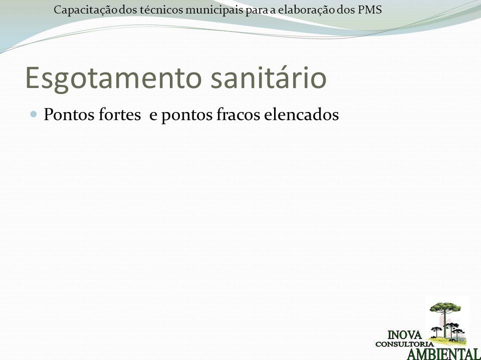 Capacitação dos técnicos municipais para a elaboração dos PMS Esgotamento sanitário Pontos fortes e pontos fracos elencados