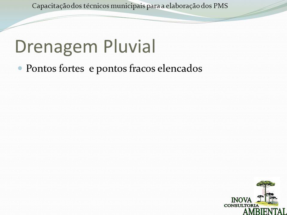 Capacitação dos técnicos municipais para a elaboração dos PMS Drenagem Pluvial Pontos fortes e pontos fracos elencados