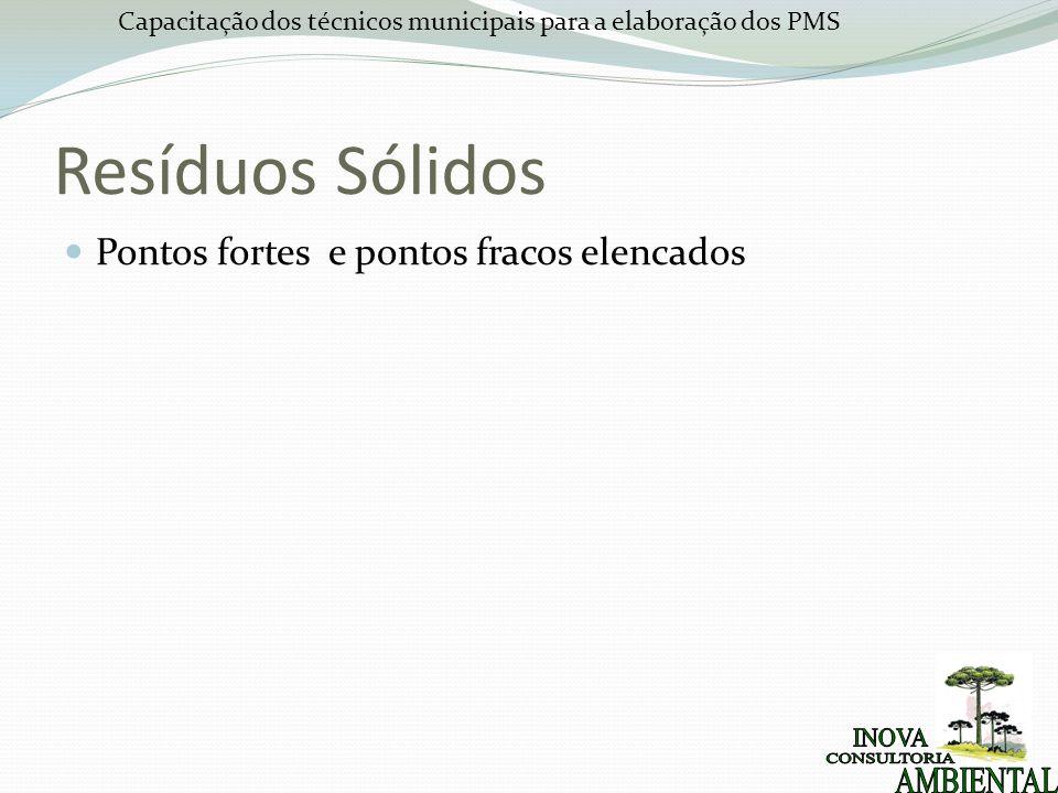 Capacitação dos técnicos municipais para a elaboração dos PMS Resíduos Sólidos Pontos fortes e pontos fracos elencados