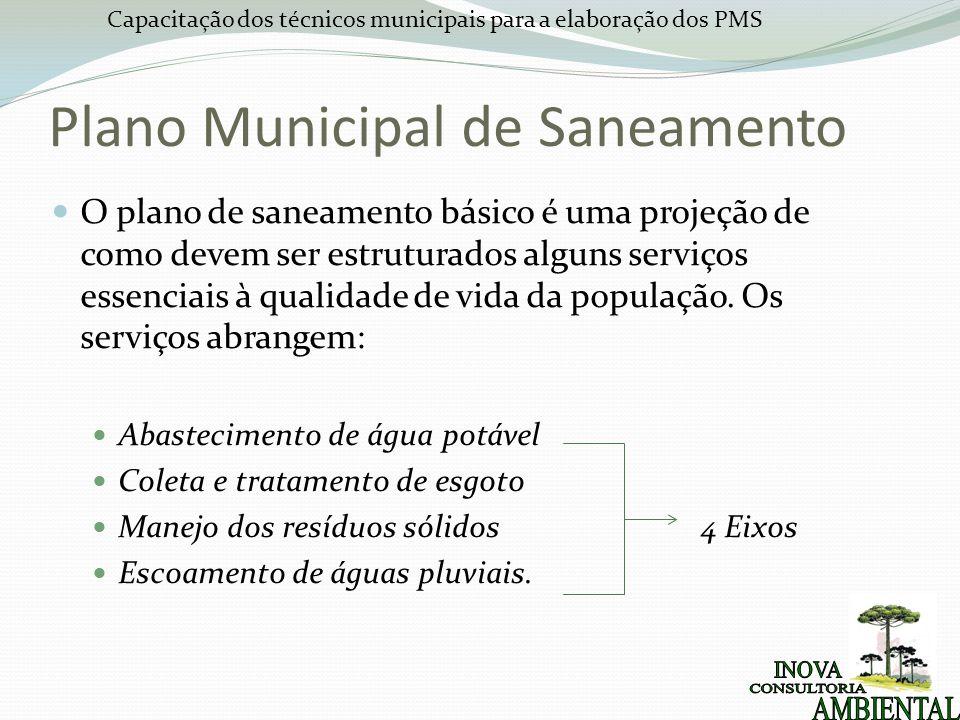 Capacitação dos técnicos municipais para a elaboração dos PMS O plano de saneamento básico é uma projeção de como devem ser estruturados alguns serviç