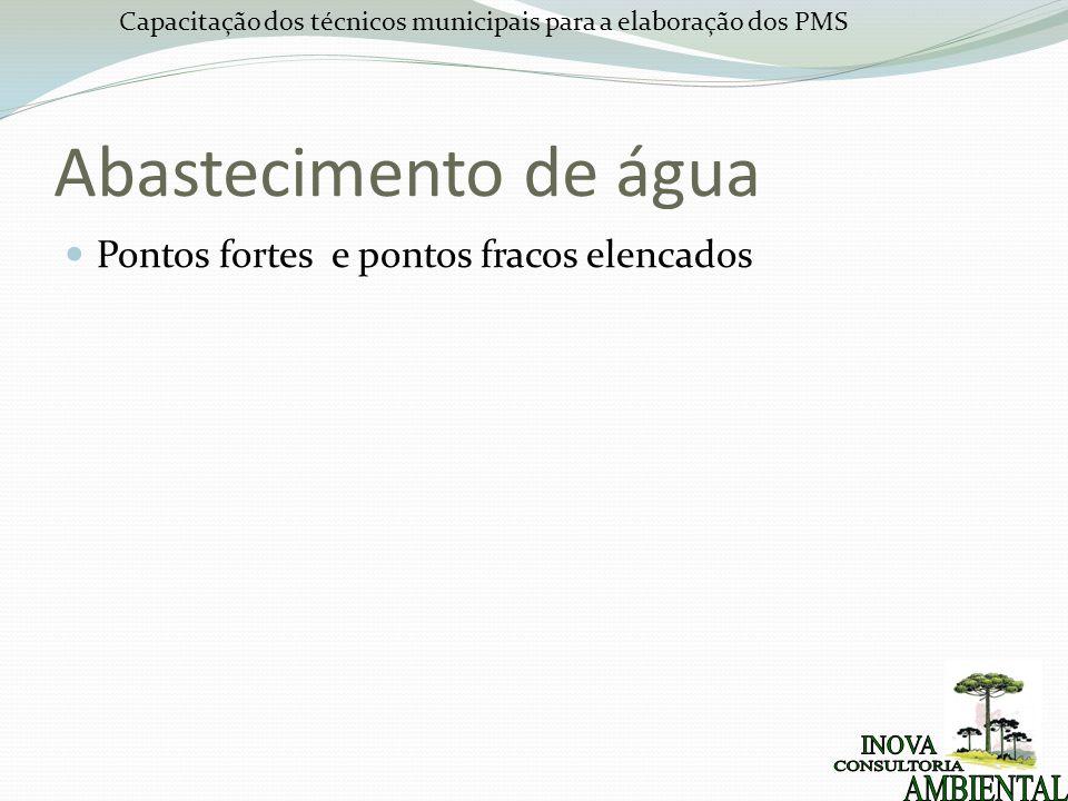 Capacitação dos técnicos municipais para a elaboração dos PMS Abastecimento de água Pontos fortes e pontos fracos elencados