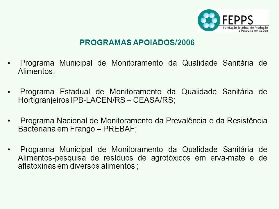 PROGRAMAS APOIADOS/2006 Programa Municipal de Monitoramento da Qualidade Sanitária de Alimentos; Programa Estadual de Monitoramento da Qualidade Sanit