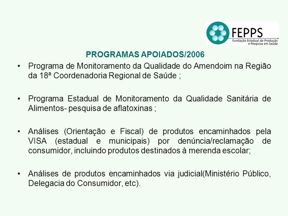 PROGRAMAS APOIADOS/2006 Programa de Monitoramento da Qualidade do Amendoim na Região da 18ª Coordenadoria Regional de Saúde ; Programa Estadual de Mon