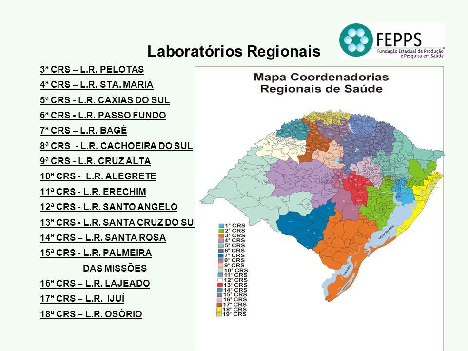 Laboratórios Regionais 3ª CRS – L.R. PELOTAS 4ª CRS – L.R. STA. MARIA 5ª CRS - L.R. CAXIAS DO SUL 6ª CRS - L.R. PASSO FUNDO 7ª CRS – L.R. BAGÉ 8ª CRS