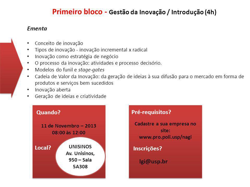 Ementa Conceito de inovação Tipos de inovação - inovação incremental x radical Inovação como estratégia de negócio O processo da inovação: atividades e processo decisório.