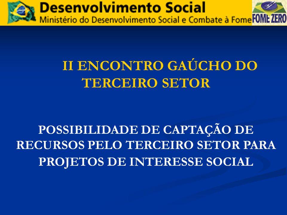 II ENCONTRO GAÚCHO DO TERCEIRO SETOR POSSIBILIDADE DE CAPTAÇÃO DE RECURSOS PELO TERCEIRO SETOR PARA PROJETOS DE INTERESSE SOCIAL
