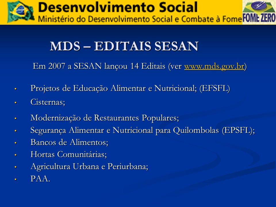 MDS – EDITAIS SESAN Em 2007 a SESAN lançou 14 Editais (ver www.mds.gov.br) www.mds.gov.br Projetos de Educação Alimentar e Nutricional; (EFSFL) Projet