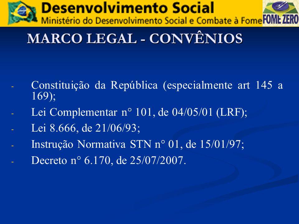MARCO LEGAL - CONVÊNIOS - - Constituição da República (especialmente art 145 a 169); - - Lei Complementar n° 101, de 04/05/01 (LRF); - - Lei 8.666, de