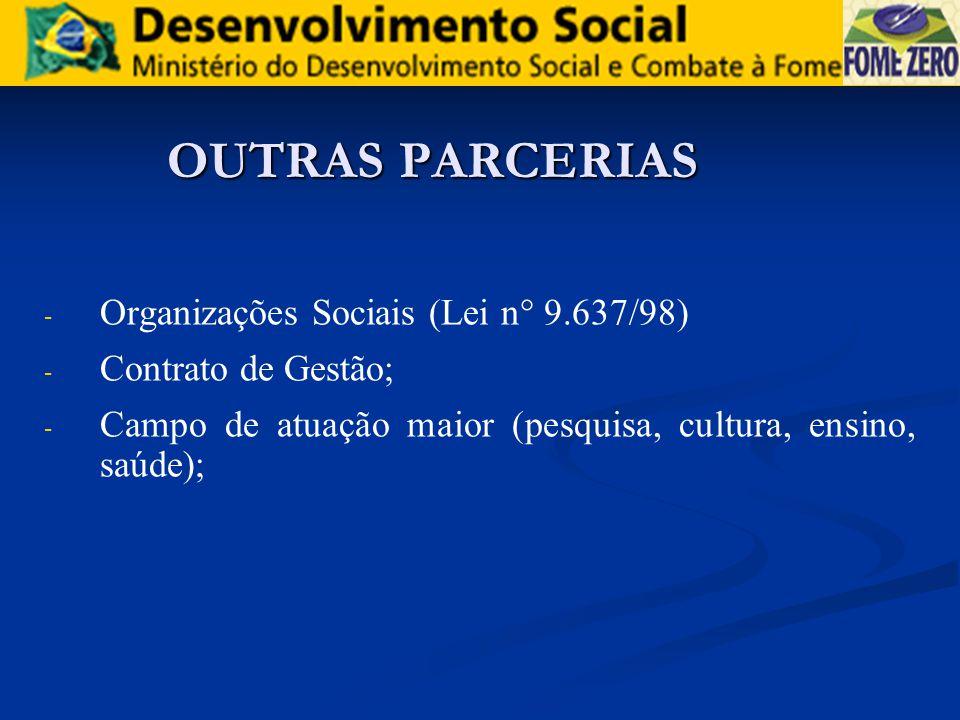 OUTRAS PARCERIAS - - Organizações Sociais (Lei n° 9.637/98) - - Contrato de Gestão; - - Campo de atuação maior (pesquisa, cultura, ensino, saúde);