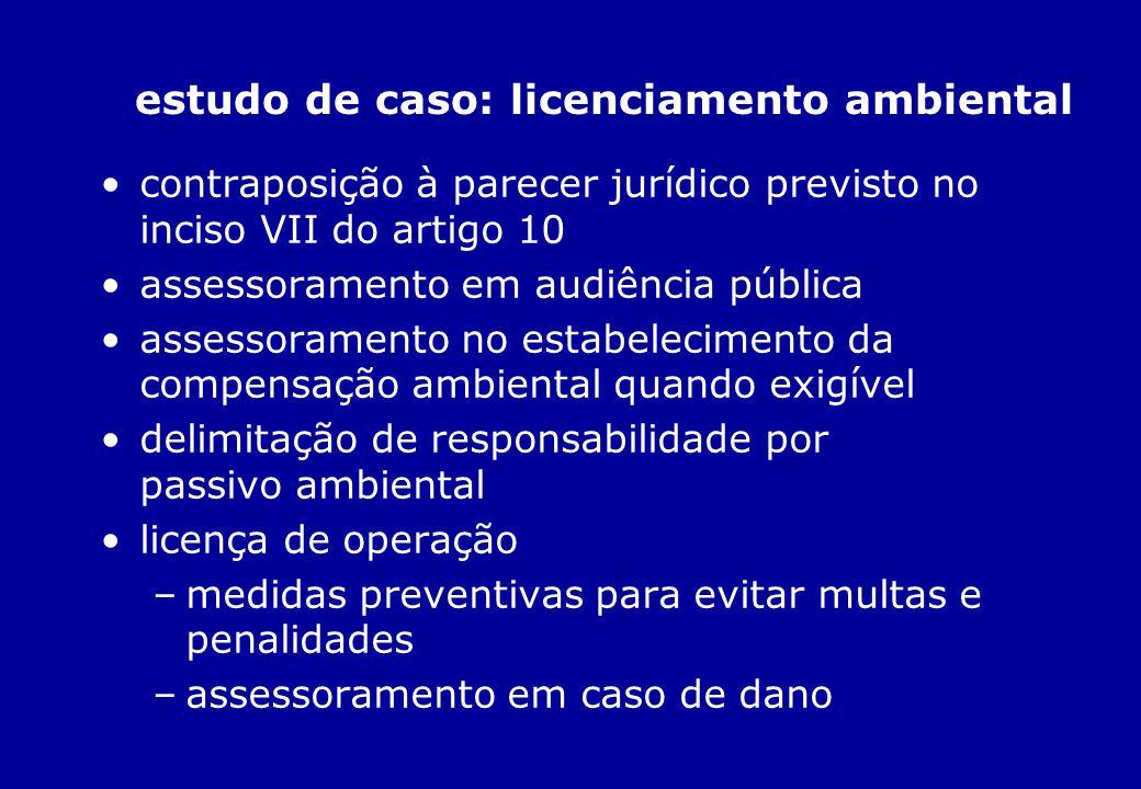 estudo de caso: licenciamento ambiental contraposição à parecer jurídico previsto no inciso VII do artigo 10 assessoramento em audiência pública asses