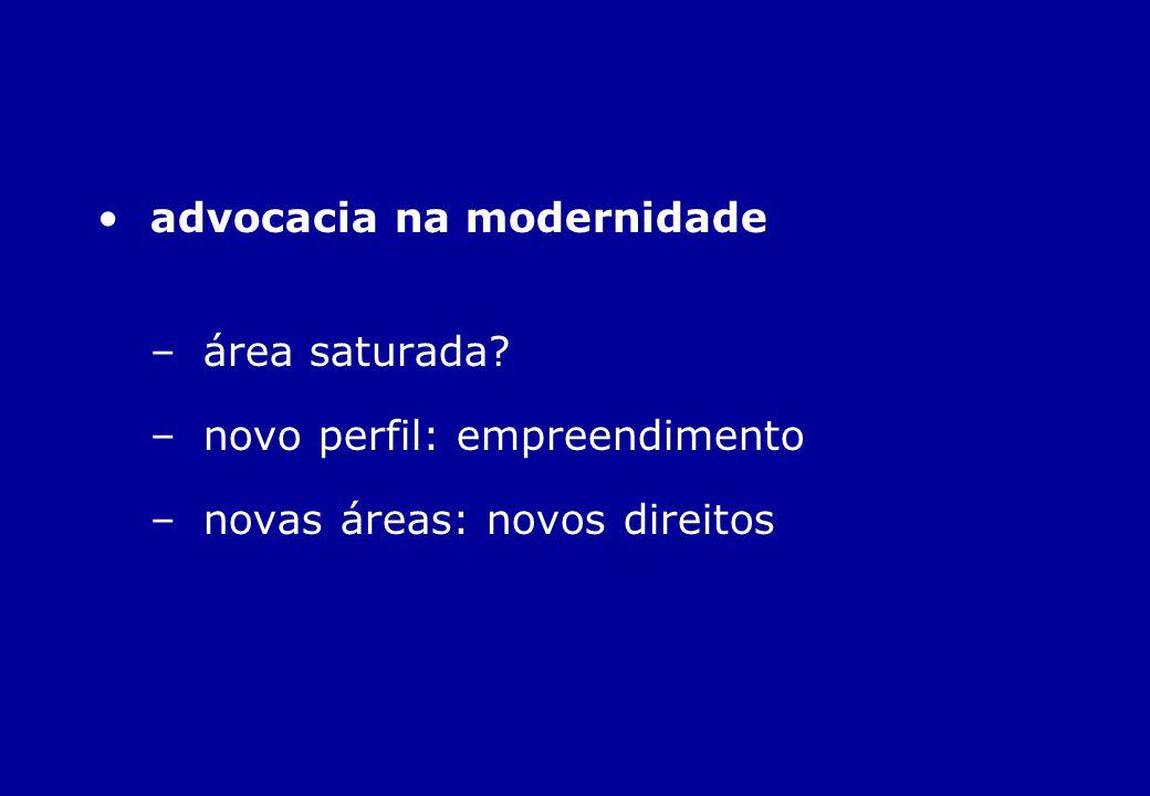 advocacia na modernidade –área saturada? –novo perfil: empreendimento –novas áreas: novos direitos