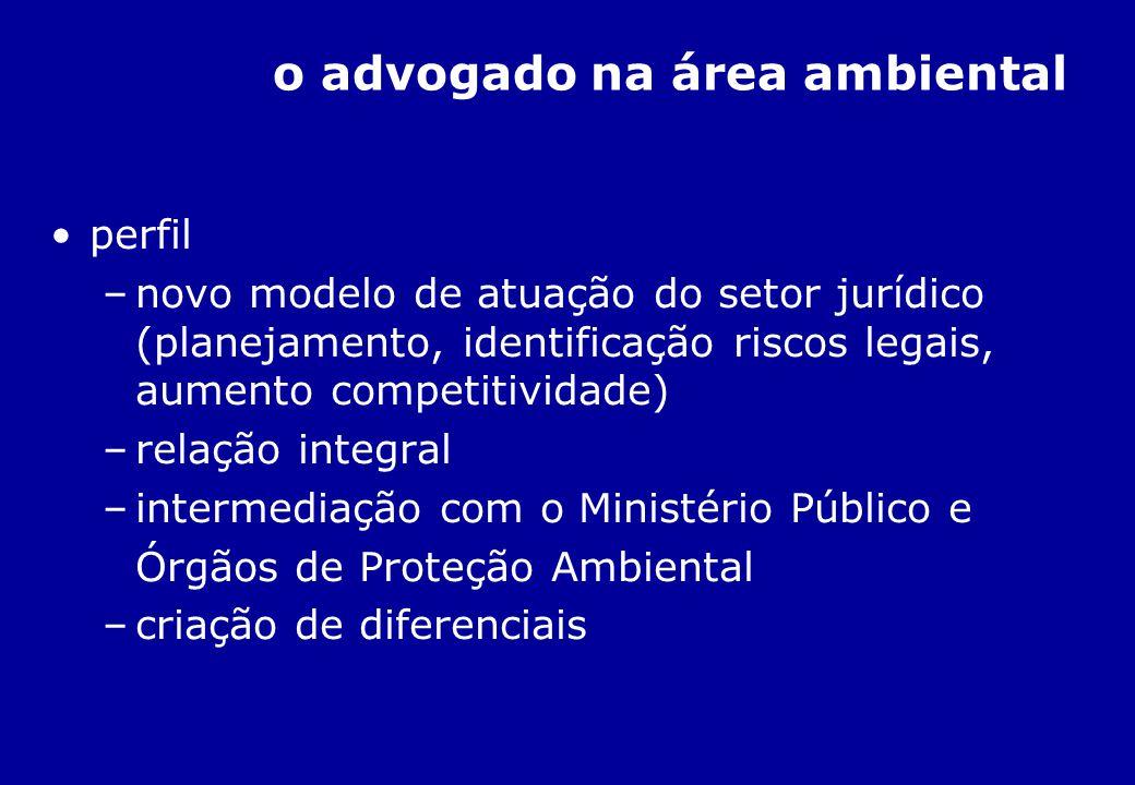 o advogado na área ambiental perfil –novo modelo de atuação do setor jurídico (planejamento, identificação riscos legais, aumento competitividade) –re