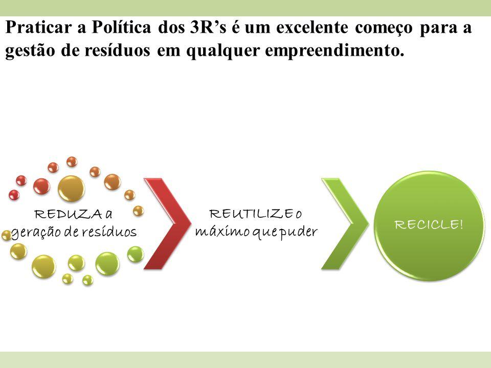 Praticar a Política dos 3Rs é um excelente começo para a gestão de resíduos em qualquer empreendimento. REDUZA a geração de resíduos REUTILIZE o máxim