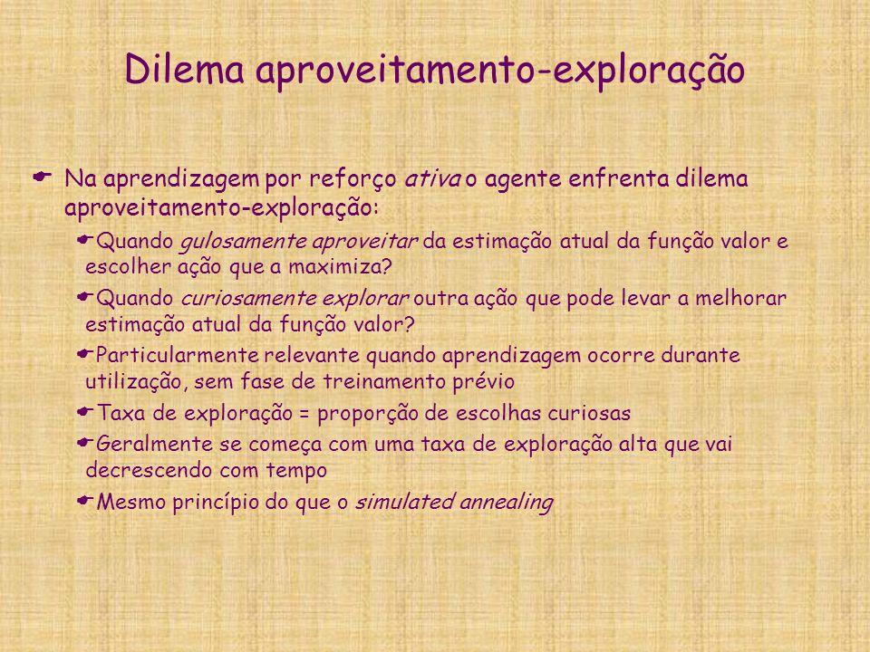 Dilema aproveitamento-exploração Na aprendizagem por reforço ativa o agente enfrenta dilema aproveitamento-exploração: Quando gulosamente aproveitar d