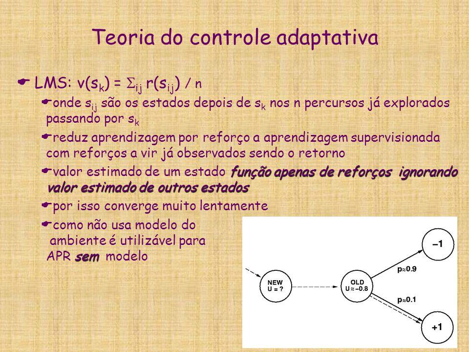 Teoria do controle adaptativa LMS: v(s k ) = ij r(s ij ) / n onde s ij são os estados depois de s k nos n percursos já explorados passando por s k red