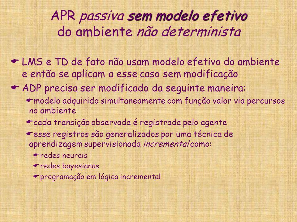 sem modelo efetivo APR passiva sem modelo efetivo do ambiente não determinista LMS e TD de fato não usam modelo efetivo do ambiente e então se aplicam