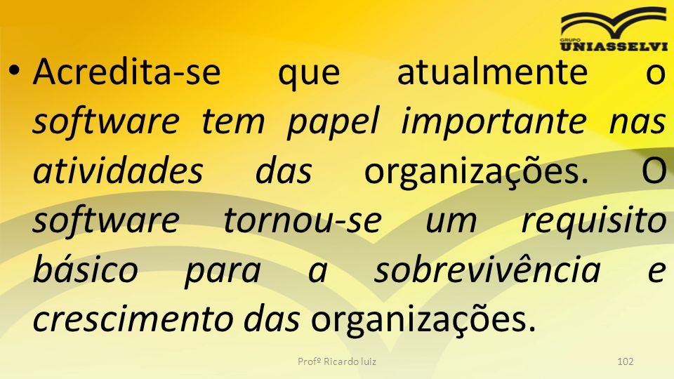 Acredita-se que atualmente o software tem papel importante nas atividades das organizações. O software tornou-se um requisito básico para a sobrevivên