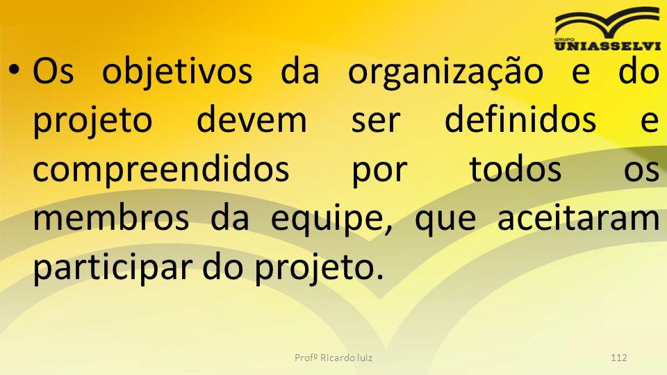 Os objetivos da organização e do projeto devem ser definidos e compreendidos por todos os membros da equipe, que aceitaram participar do projeto. Prof