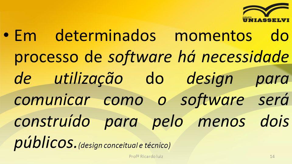 Em determinados momentos do processo de software há necessidade de utilização do design para comunicar como o software será construído para pelo menos