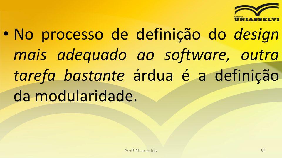 No processo de definição do design mais adequado ao software, outra tarefa bastante árdua é a definição da modularidade. Profº Ricardo luiz31