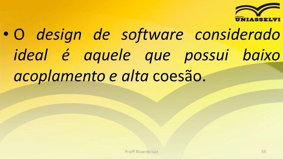 O design de software considerado ideal é aquele que possui baixo acoplamento e alta coesão. Profº Ricardo luiz55