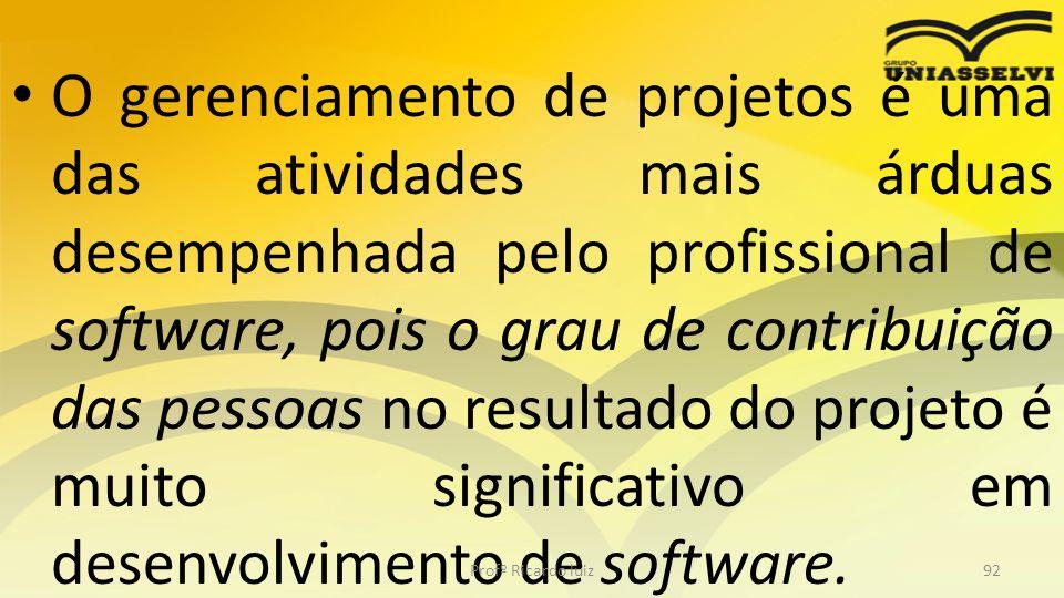 O gerenciamento de projetos é uma das atividades mais árduas desempenhada pelo profissional de software, pois o grau de contribuição das pessoas no re