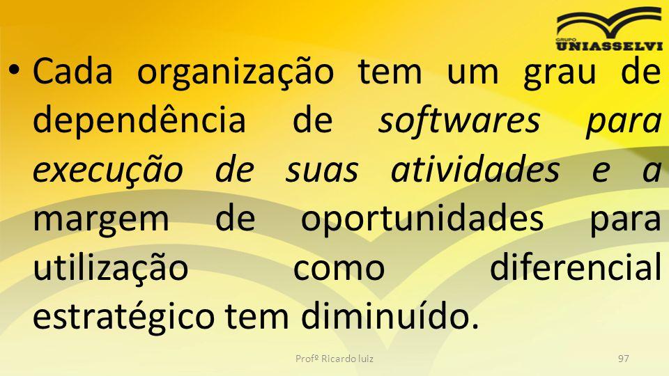 Cada organização tem um grau de dependência de softwares para execução de suas atividades e a margem de oportunidades para utilização como diferencial