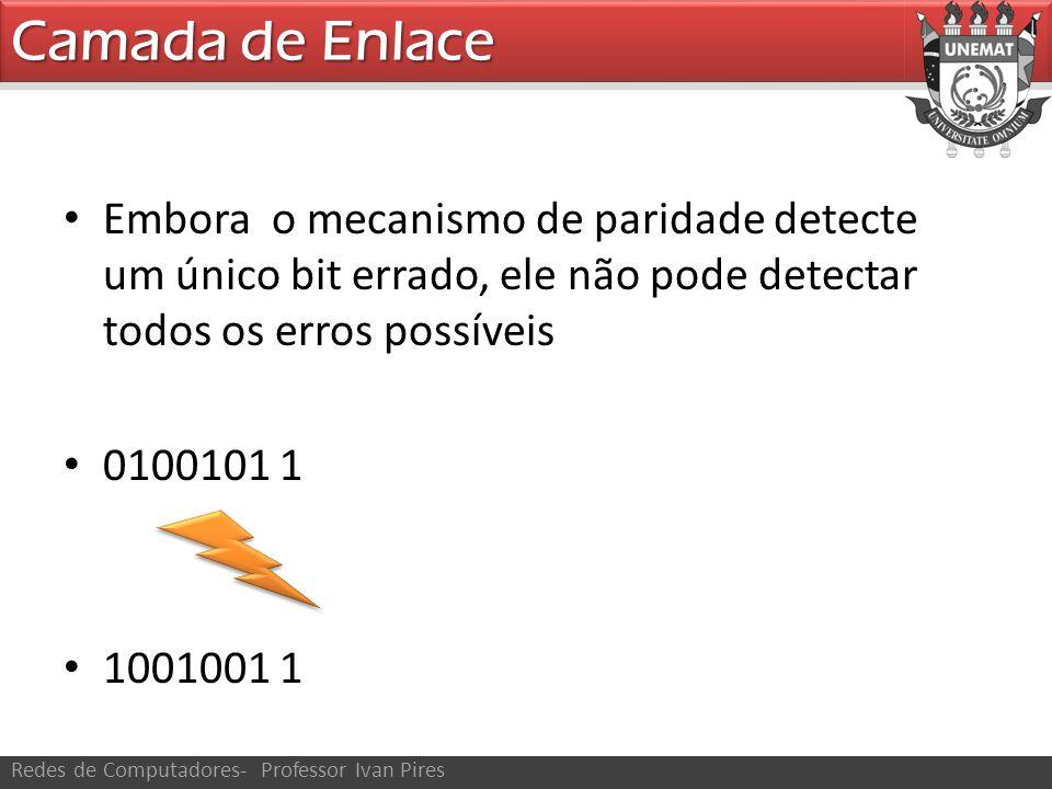 Camada de Enlace Redes de Computadores- Professor Ivan Pires Embora o mecanismo de paridade detecte um único bit errado, ele não pode detectar todos os erros possíveis 0100101 1 1001001 1