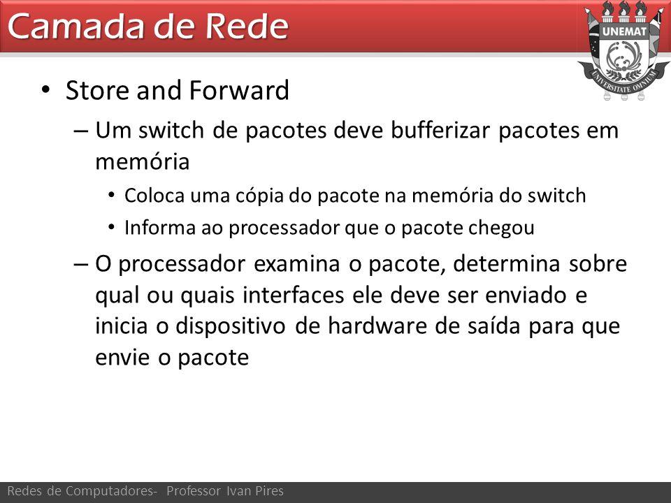 Camada de Rede Redes de Computadores- Professor Ivan Pires Store and Forward – Os pacotes que chegam em um switch são colocados em uma fila até que o switch possa encaminhá-los em direção a seu destino.