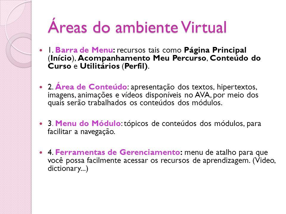 Áreas do ambiente Virtual 1. Barra de Menu: recursos tais como Página Principal (Início), Acompanhamento Meu Percurso, Conteúdo do Curso e Utilitários