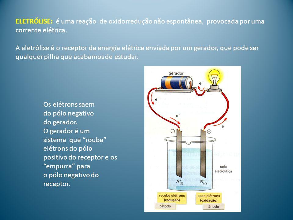 Semirreação do ânodo(pólo positivo): O ânion é atraído para o pólo positivo e tende a perder elétrons, tornando-se neutro.